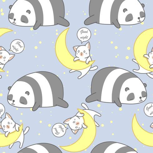 Nahtloser Panda und Katze im Thema Muster der guten Nacht.