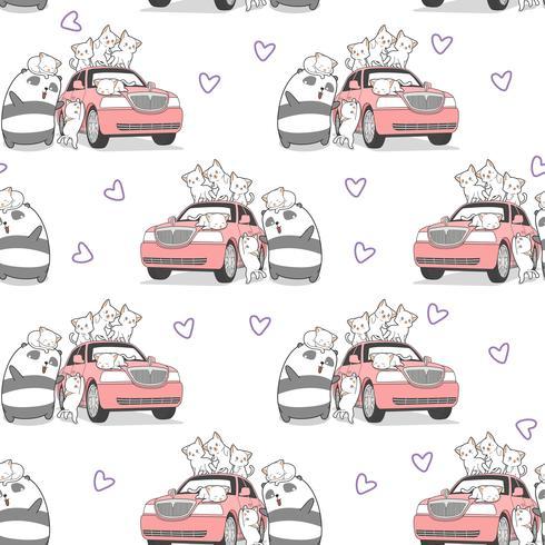 Naadloze getrokken kawaii katten en panda met roze auto patroon.