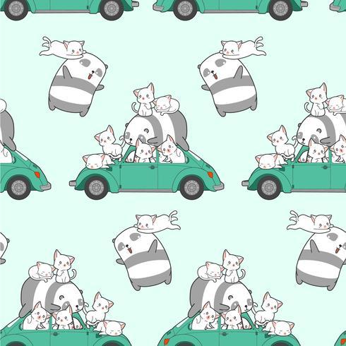 Sömlösa dragna kawaii katter och panda med bilmönster. vektor