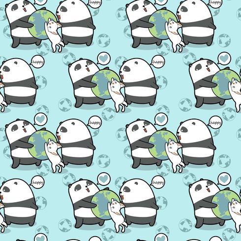 Seamless kawaii pandas and cat loves the world pattern