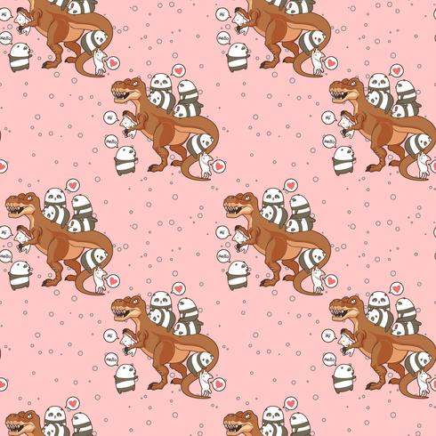 Seamless kawaii pandas and cats with dinosaur pattern vector