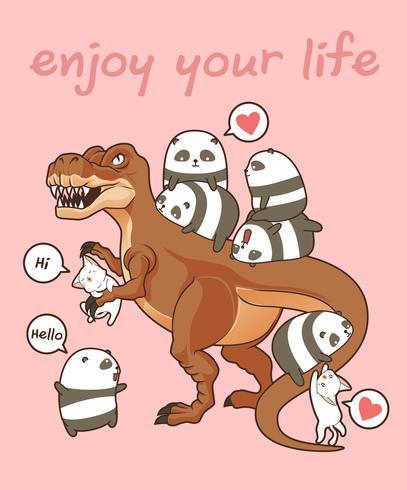 Kawaii pandas and cats with dinosaur