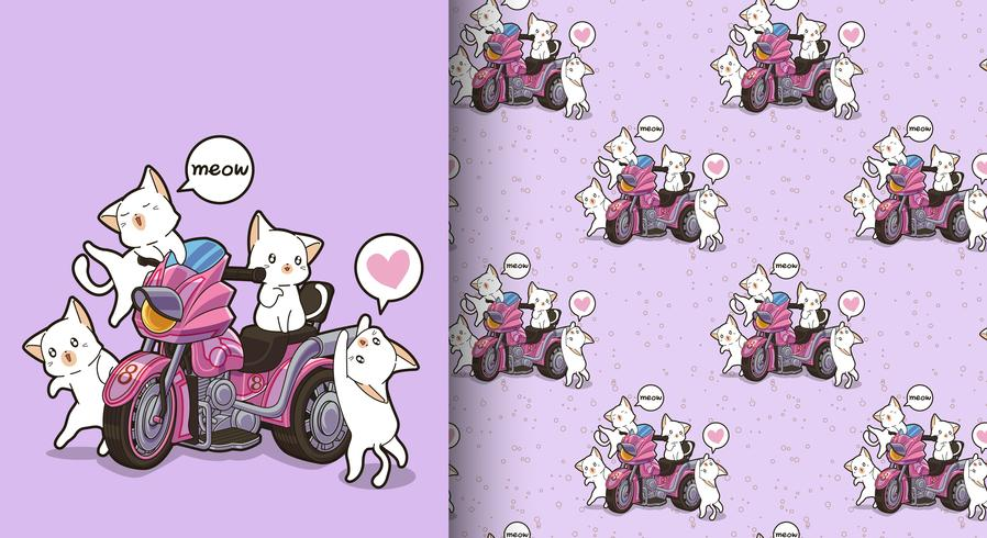 Seamless kawaii cats and motor tricycle pattern