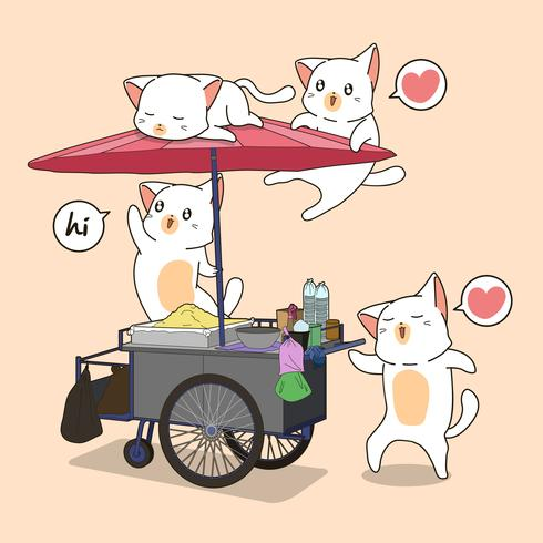 Kawaii cats and portable stall vector