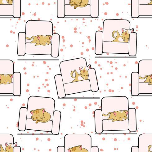 Nahtlose Katze schläft auf Sofamuster.