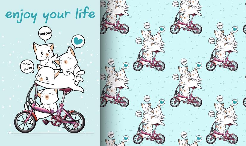 Nahtlose kawaii Katze fährt Fahrrad mit Freundmuster