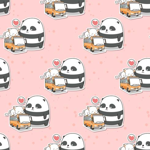 Seamless cute panda and cat who is on the bus pattern vector