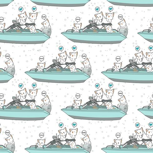 Seamless kawaii cats in the speed boat pattern vector