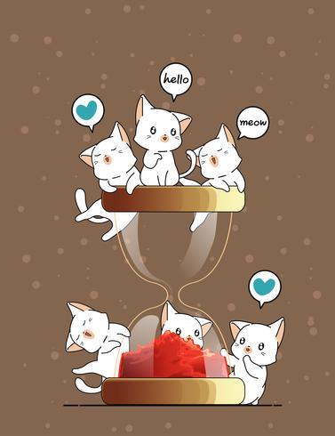Kawaii Katzen und Sanduhr vektor