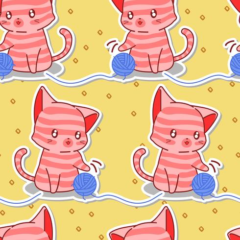 Seamless cute pink cat with blue yarn pattern. vector