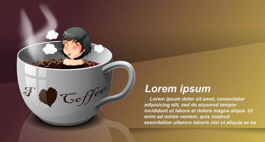 Coffee lover in cartoon style.