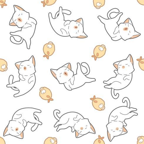 Seamless pattern cat and fish.