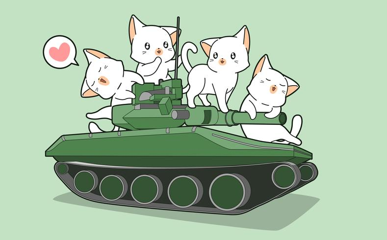 Cute cats and war tanks vector