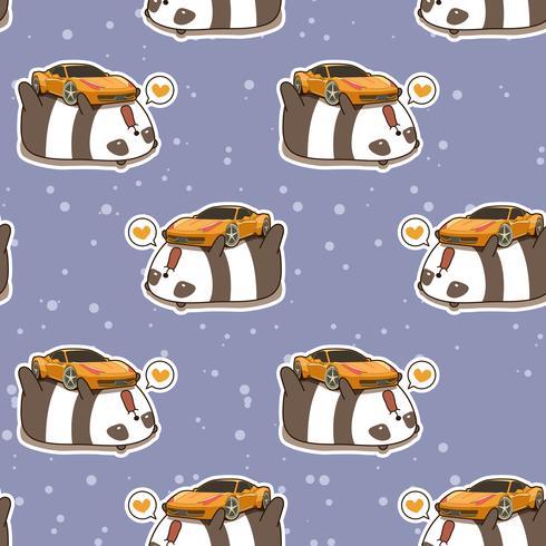 Seamless kawaii panda älskar super bilmönster vektor
