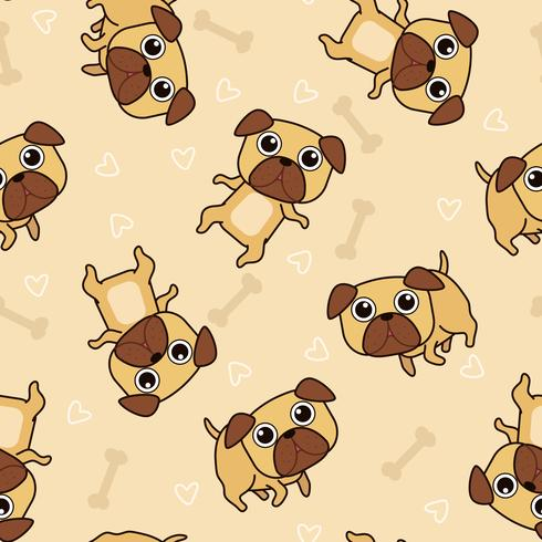 Seamless pug dog pattern. vector