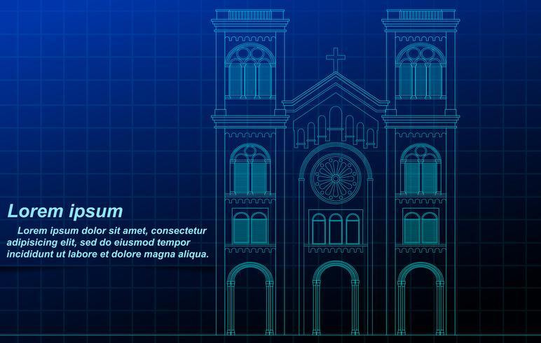 Church outline on blueprint background.