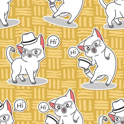 Seamless cute cat says hi pattern. vector