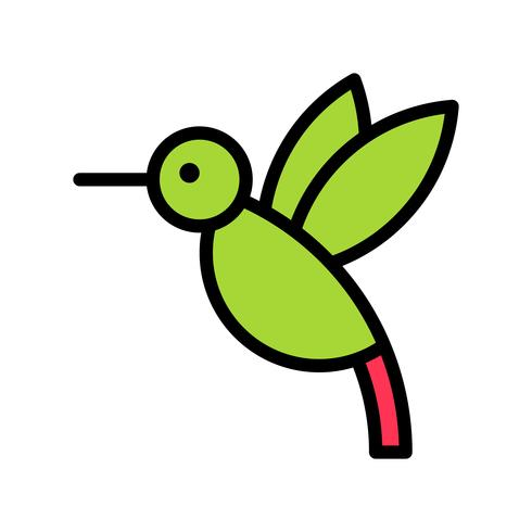 Vector de colibrí, icono de estilo relleno relacionado tropical