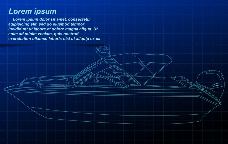 Skissning av motorbåt wireframe. vektor