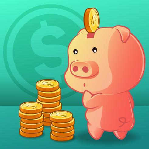 Piggy bank concept in cartoon style.