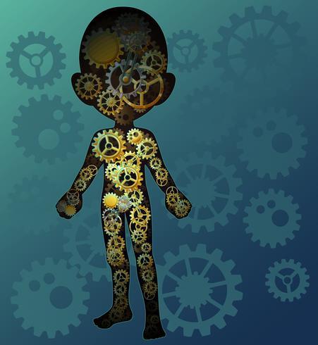 Moteur du corps humain en style cartoon.
