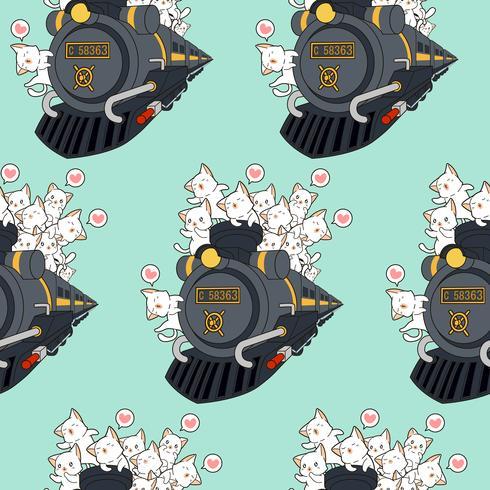 Gatti kawaii senza cuciture sul modello locomotivo.