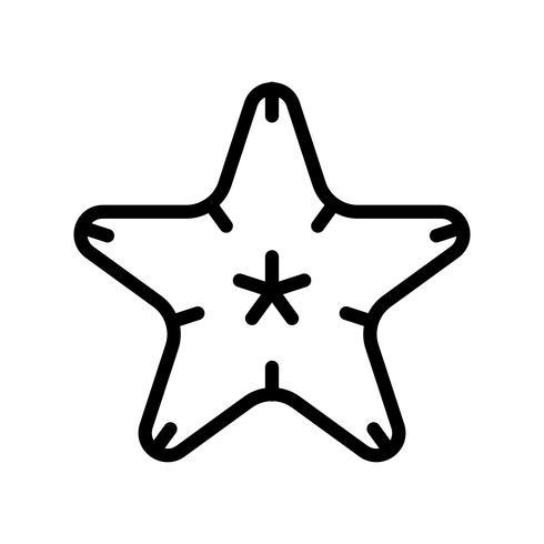 Vecteur d'étoile de mer, icône de style de ligne connexe tropical