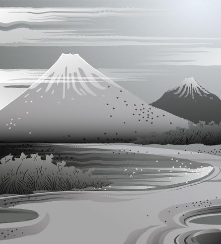Paisagem de tinta em estilo japonês. vetor