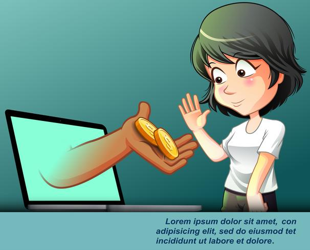 Online financial service concepts in cartoon style.