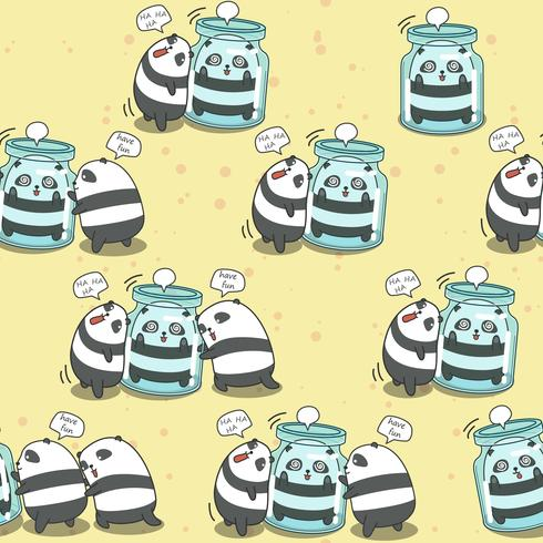 Seamless 4 pandas are playing together pattern. vector