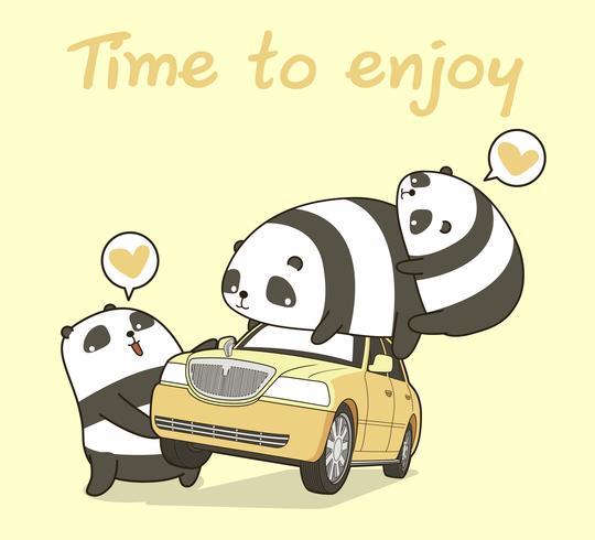 3 kawaii panda karaktärer med bil