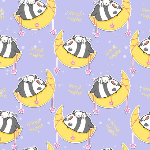 Seamless panda and cat are sleeping on the moon pattern. vector