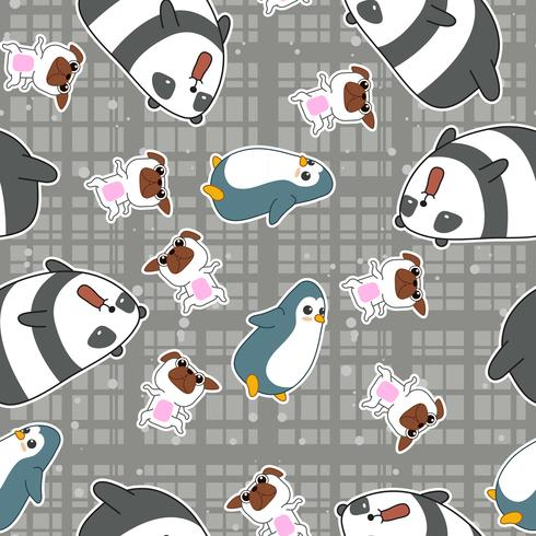 Seamless 4 animals pattern. vector