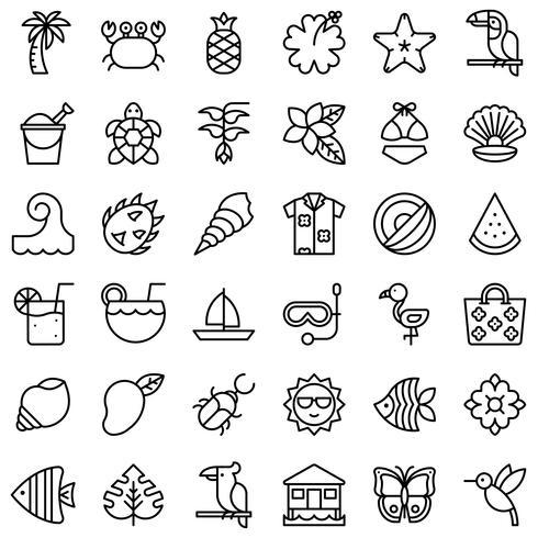 Conjunto de iconos relacionados con el vector tropical, estilo de línea
