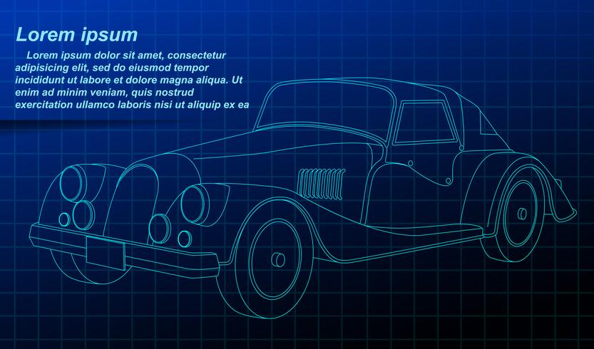 Vehicle outline on blueprint background. vector