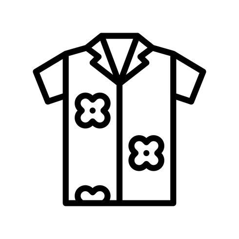 Vecteur de chemise d'été, icône de style de ligne connexe tropical