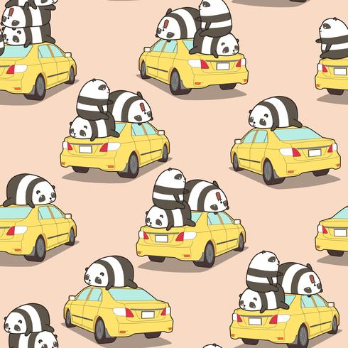 Pandas sans soudure sur le modèle de voiture jaune.