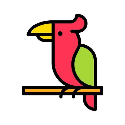 Vetor de papagaio, ícone de estilo preenchido relacionado tropical