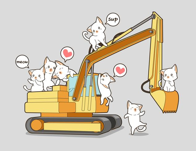 Cute cats and the tractor.