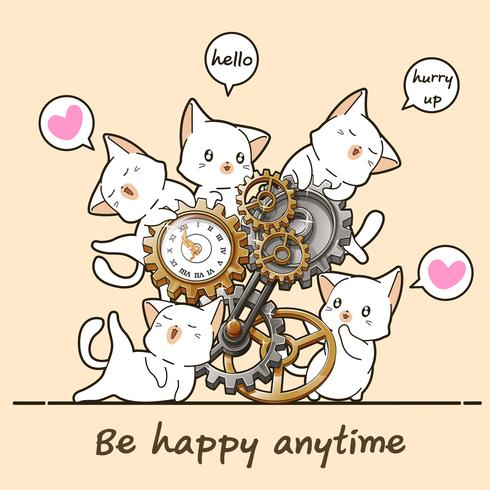 Kawaii cats and clock