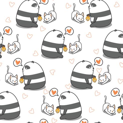 Seamless panda is feeding cat pattern. vector