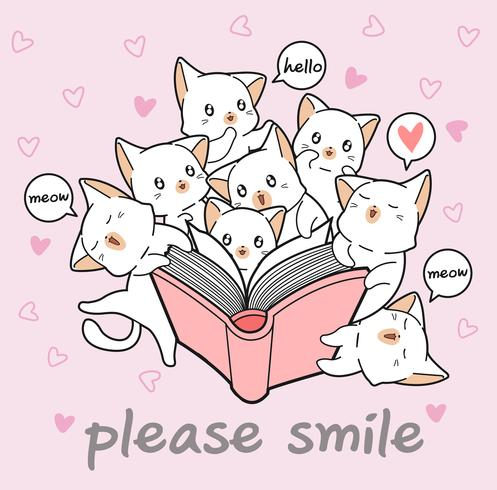 Kawaii cats are loving a book vector