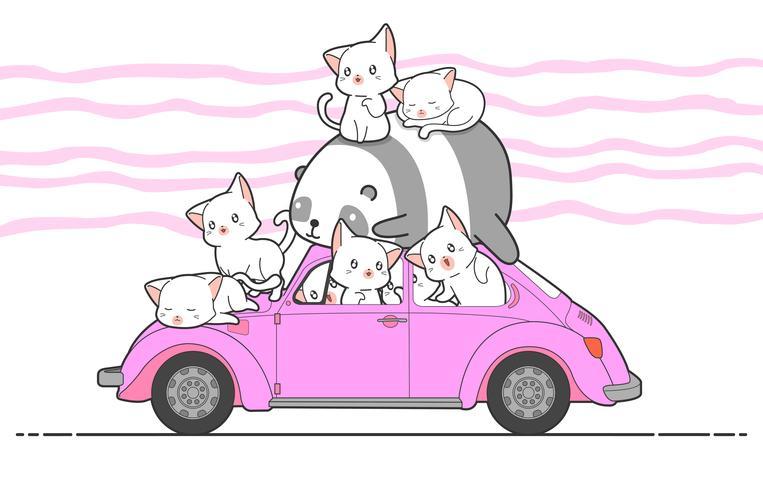 chats kawaii dessinés et panda avec voiture.