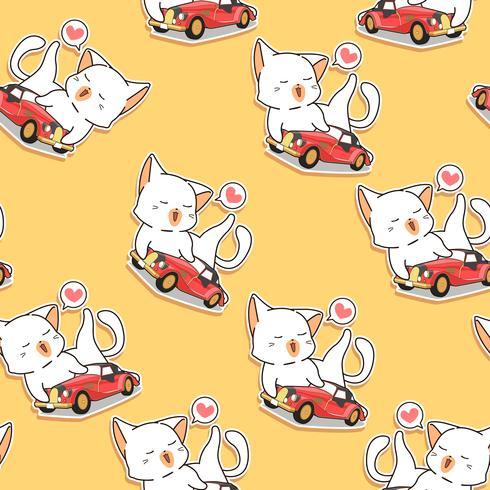 Il gatto kawaii senza cuciture ama il modello di auto d'epoca.