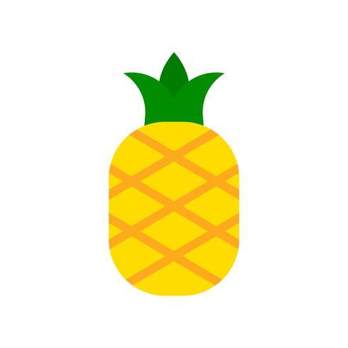 Vector de piña, icono de estilo plano relacionado tropical