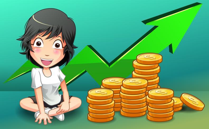 Ella tiene mucho dinero en estilo de dibujos animados. vector
