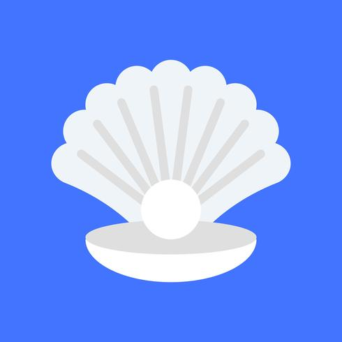 Seashell with pearl vector, tropical related flat style icon