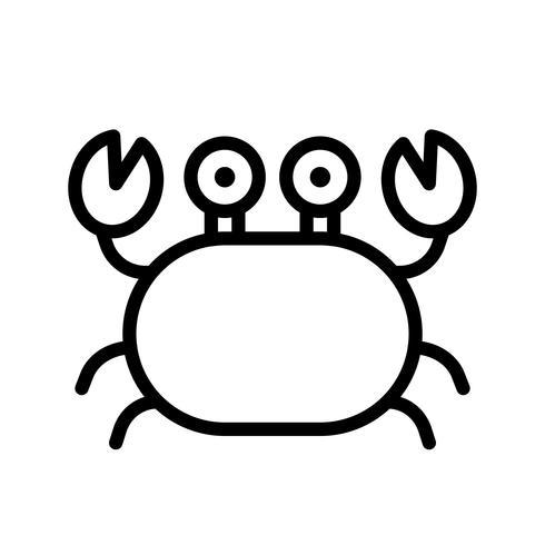 Vecteur de crabe, icône de style de ligne liée tropical