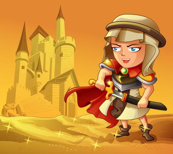 Warrior character in cartoon style.
