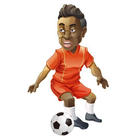 Voetbal-speler in cartoon stijl. vector